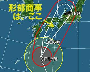 2018年9月4日は台風21号直撃コースの為、臨時休業します。