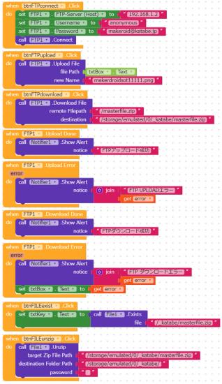 Makeroidの勉強:FTPとupzip