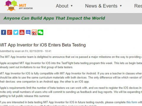 20190225MIT App Inventor for iOS Enters Beta Testing