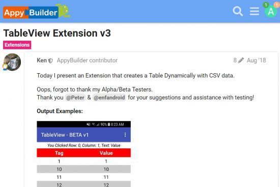 [AppyBuilder Extension]TableView Extension v3